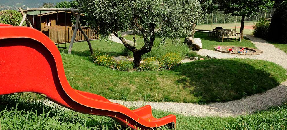 View of the garden at family hotel in South Tyrol