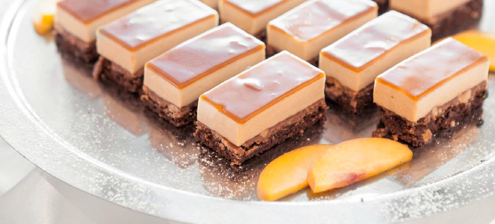 Detail of a tray of cakes prepared for a gourmet holiday in South Tyrol