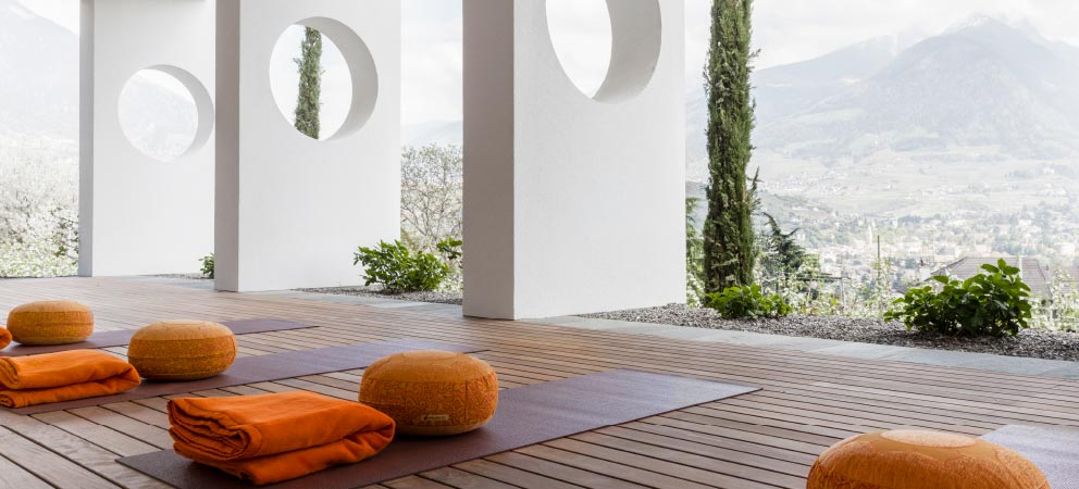The yoga area at the Hotel Giardino Marling